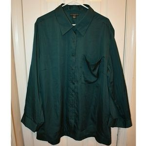 Hunter Green (emerald) PJ style button down top